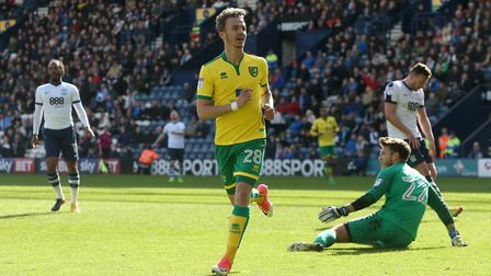 James Maddison celebrates his first Championship goal, in City's win at Preston under Alan Irvine to