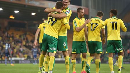 Tom Trybull celebrates scoring on his Norwich City debut. Picture: Paul Chesterton/Focus Images