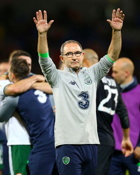 Republic of Ireland manager Martin O'Neill celebrates victory over Wales. Picture: PA