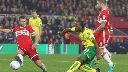 Cameron Jerome was a key figure in Norwich City's win at Middlesbrough. Picture: Paul Chesterton/Foc