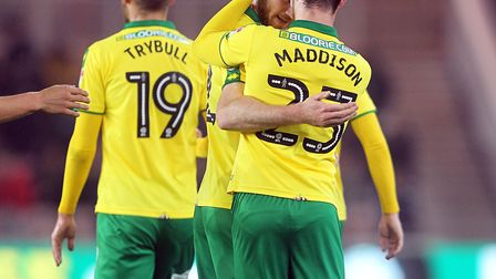 James Maddison celebrates after scoring City's winner at the Riverside Stadium. Picture: Paul Cheste