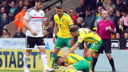 Chris Martin - then on loan at Fulham - is sent off for a foul on Mitchell Dijks last season. Pictur