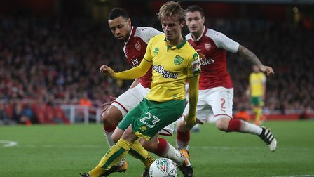 James Maddison of Norwich in action during the Carabao Cup match at the Emirates Stadium, LondonPict