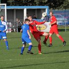 Bungay Town (red) on their way to victory at Kirkley & Pakefield Reserves last week. They face Beccl