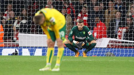Disappointment in the Carabao Cup for City's Tom Trybull and keeper Angus Gunn. Picture: Paul Cheste