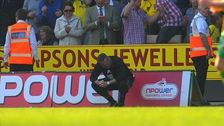Paul Lambert takes a moment to take in the enormity of Simeon Jackson's injury time winner against D