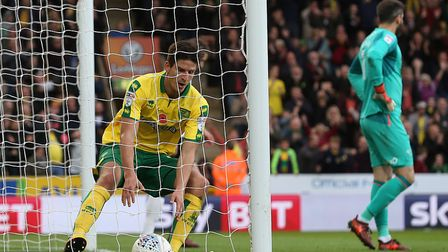 Timm Klose retrieves the ball after scoring Norwich City's equaliser against Derby County at Carrow