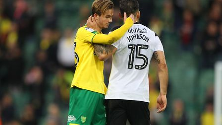 James Maddison and Bradley Johnson embrace after a tough encounter. Picture: Paul Chesterton/Focus I
