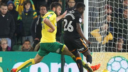 Grant Hanley made his full debut during Norwich City's 2-0 home defeat to Wolves. Picture: Paul Ches