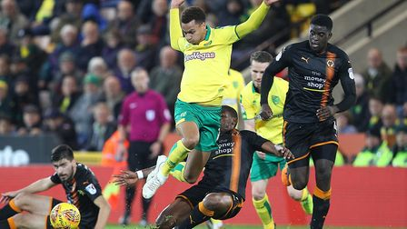 Josh Murphy of Norwich is fouled by Ivan Cavaleiro of Wolverhampton Wanderers during the Sky Bet Cha