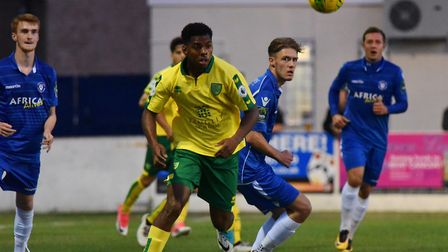 Tristan Abrahams, pictured in action in a friendly at Lowestoft earlier this season, scored for Norw