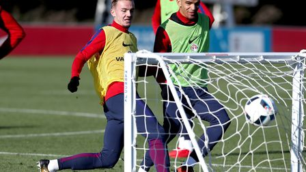 England's James Maddison (left) and Dominic Solanke (right) during an U21 training session at St Geo