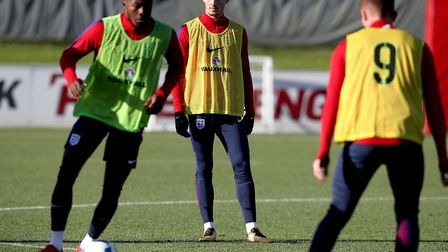 England's James Maddison (centre) during the U21 training session at St George's Park, Burton, on We