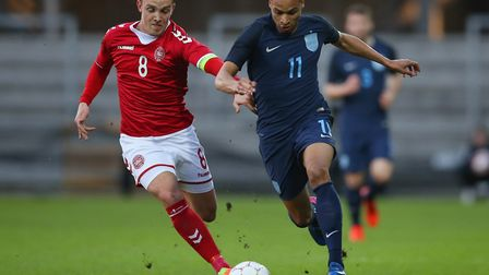 Jacob Murphy, right, was caped six times for the England U21s earlier this year. Photo by Steve Bard