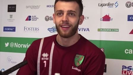 Angus Gunn talks to the media at Colney. Picture: Archant