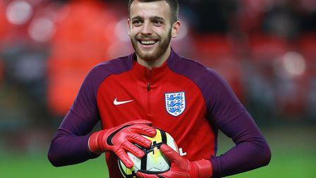 Norwich number one Angus Gunn was an unused substitute during England's 0-0 draw with Brazil at Wemb