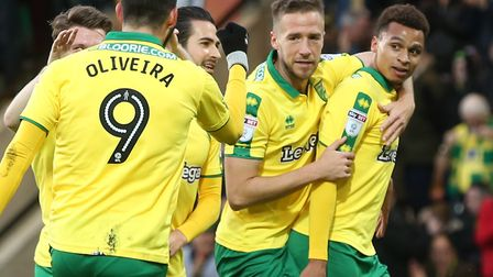 Josh Murphy celebrates scoring Norwich City's only goal in their 1-1 draw with Barnsley at Carrow Ro