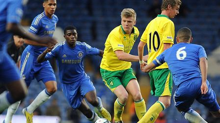 Ruben Loftus-Cheek, back left, in action for Chelsea against Norwich in the FA Youth Cup final secon