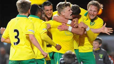 Norwich City Under-18 skipper Cameron McGeehan celebrates his goal in the 2013 FA Youth Cup final fi
