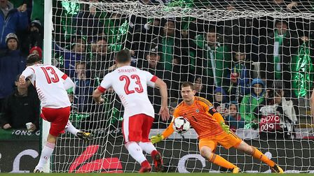 Switzerland's Ricardo Rodriguez sends Michael McGovern the wrong way from the penalty spot in Northe