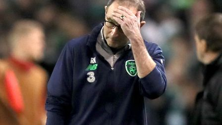 Republic of Ireland manager Martin O'Neill stands dejected during the 2018 FIFA World Cup qualifying