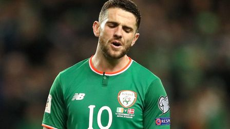 Former Norwich player Robbie Brady looks dejected during Ireland's 2018 FIFA World Cup qualifying pl