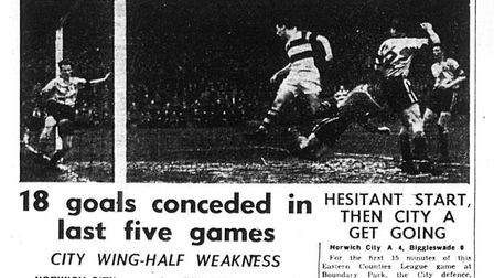 Eastern Evening News coverage of Norwich City during 1956-57 - a 5-2 defeat to Reading on February 2