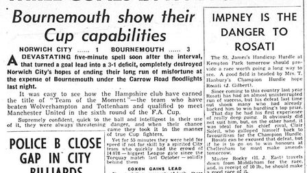 Eastern Evening News coverage of Norwich City during 1956-57 - a 3-1 defeat to Bournemouth on Februa