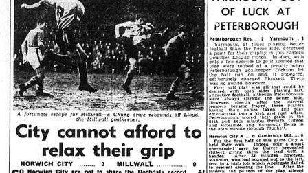 Eastern Evening News coverage of Norwich City during 1956-57 - a 2-0 win over Millwall which brought