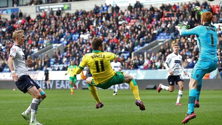 Gary Hooper scores what turns out to be the winning goal at Bolton in April, 2015. Picture: Paul Che