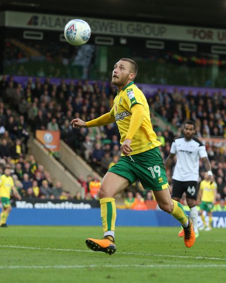 Tom Trybull lines up a shot... but misses the ball completely during the match against Derby. Pictu