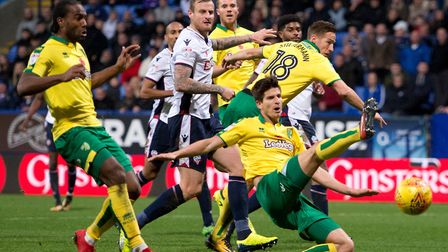 Timm Klose slides in but fails to get on the end of a free-kick as Norwich City slip to defeat at Bo