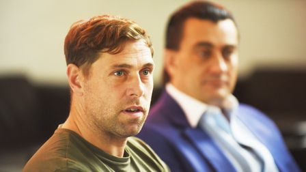 Grant Holt with Stephen Cleeve after joining King's Lynn Town. Picture: Ian Burt