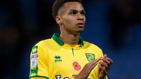 Josh Murphy of Norwich City applauds his team's supporters following the Sky Bet Championship match