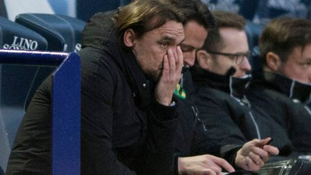 Norwich City head coach Daniel Farke cuts a concerned figure as his side lose out at Bolton. Picture