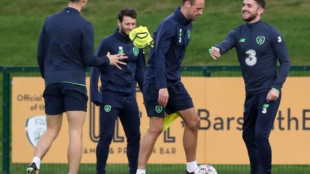 From left, Callam O'Dowda, Wes Hoolahan, David Meyler and Robbie Brady during a training session at
