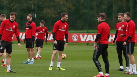 Norwich forward Marley Watkins, centre, during a Wales training session at the Vale Resort, Hensol o