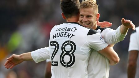 Derby County's David Nugent and Matej Vydra. Picture: PA