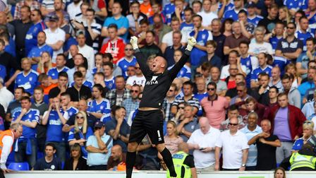 John Ruddy celebrates victory in front of the Ipswich fans at Portman Road. Picture: Paul Chesterton