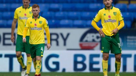 Tom Trybull's face says it all as Norwich City concede to Bolton Wanderers at the Macron Stadium. Pi