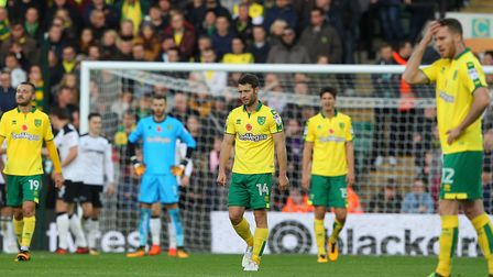 The Norwich players look dejected after conceding their sides second goal during their Sky Bet Champ
