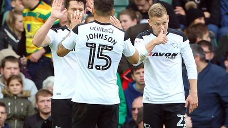 David Nugent celebrates opening the scoring during Derby's 2-1 win at Carrow Road. Picture by Paul C