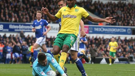 Cameron jerome starts ahead of Nelson Oliveira for Norwich City against Derby County. Picture by Pau