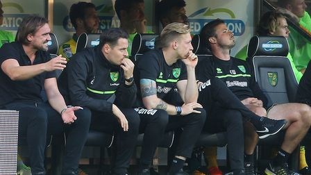 Todd Cantwell, far right, on the substitutes bench during City's 1-1 draw with Hull at Carrow Road.