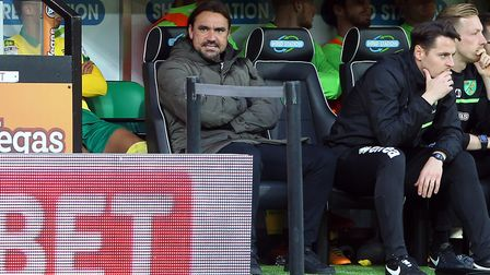 Daniel Farke in the dug-out after City concede their second goal against Derby. Picture: Paul Cheste