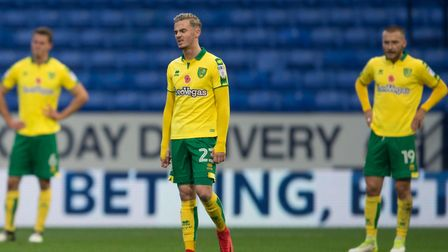 Norwich City players have a look of dejection after going 1-0 down during the Sky Bet Championship m