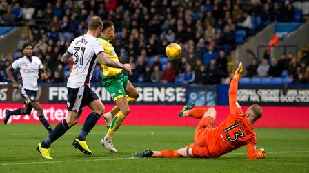 Josh Murphy spurns a double cchance before his late goal at Bolton. Picture: Russell Hart/Focus Imag