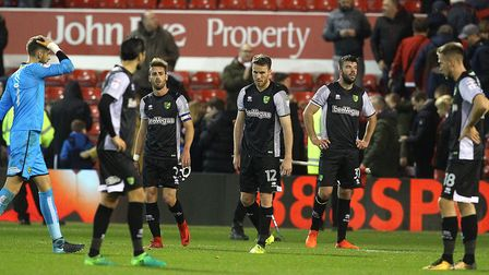 The Norwich players look dejected at the end of the Sky Bet Championship match at the City Ground, N