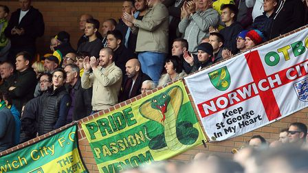 The Norwich fans get behind their side during the Sky Bet Championship match at Carrow Road, Norwich
