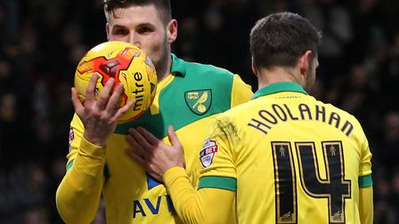 Gary Hooper kisses the match ball after completing his hat-trick during a Championship win for Norwi